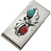 Navajo Turquoise Coral Silver Money Clip 28608