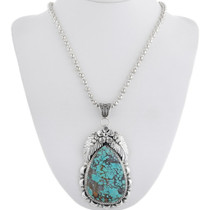 Turquoise Silver Pendant With Necklace 39669