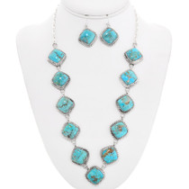 Native American Turquoise Y Necklace Set 29669