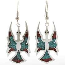 Turquoise Coral Chip Inlay Earrings 27148