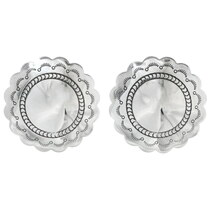 Navajo Silver Concho Post Earrings 20754