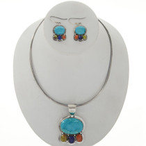 Turquoise Lapis Silver Navajo Necklace Set 27790