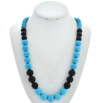 Navajo Turquoise Onyx Necklace 29744