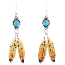 Turquoise Hand Painted Feathers Earrings 29738