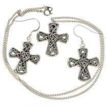 Silver Cross Pendant Earring Set 28835