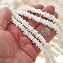 2 X 10mm White Shell Beads 16 inch Long Strand