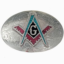 Freemason Turquoise Coral Belt Buckle 32662