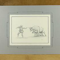 "Open edition ""Fightin' The Odds"" Rodeo Clown print by P. D. White"