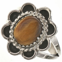 Tigers Eye Silver Ladies Ring 28662
