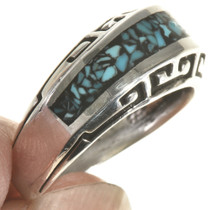 Inlaid Turquoise Silver Navajo Ring 28818