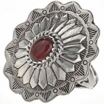 Garnet Silver Concho Ring 28942