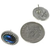 Sterling Twist Wire Shell Native American Earrings 28439