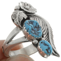 Navajo Two Stone Turquoise Ring 26442