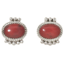 Navajo Coral Silver Stud Earrings 29082