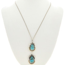 Turquoise Silver Gold Navajo Pendant 29432