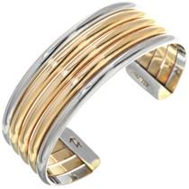 Navajo Silver Gold Cuff Bracelet 17795
