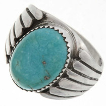 Turquoise Silver Mens Ring 27095
