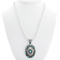 Turquoise Concho Pendant Necklace 24751
