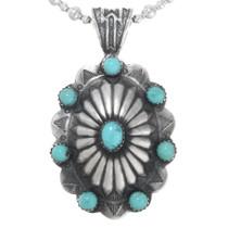Navajo Silver Turquoise Pendant 24751