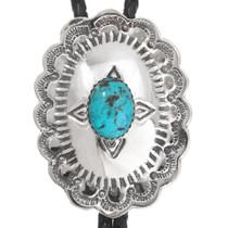 Turquoise Silver Navajo Bolo Tie 23418