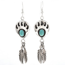 Navajo Turquoise Bear Paw Earrings 27602