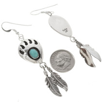 Turquoise Silver Feather Dangle Earrings 27602