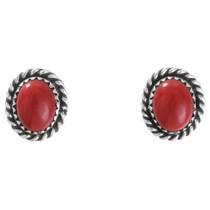 Coral Silver Stud Earrings 28437