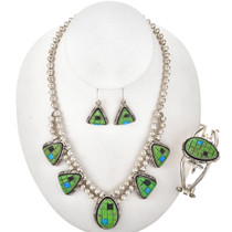 Gaspeite Opal Sterling Necklace Set Bracelet 29711