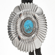 Turquoise Hammered Silver Bolo Tie 29758