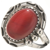 Red Coral Sterling Ladies Ring 28746