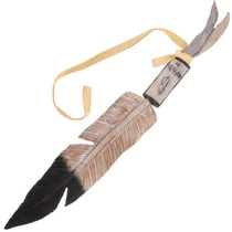 Native American Hand Carved Feather 23382