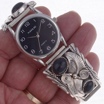 Native American Onyx  Silver Watch 23010