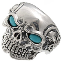 Navajo Turquoise Silver Skull Ring 25917