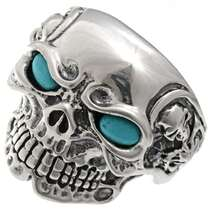 Navajo Turquoise Silver Skull Ring 25917