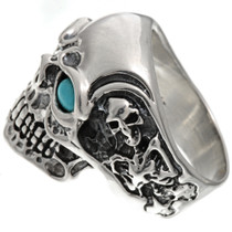 Sterling Silver Biker Mens Ring 25917
