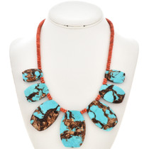 Blue Turquoise Bronze Beaded Necklace 28771