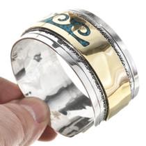 Southwest Gold Silver Turquoise Mens Bracelet 13226