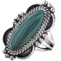 Malachite Silver Pointer Ring Ladies 29643