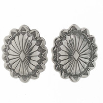 Native American Silver Concho Earrings 25704