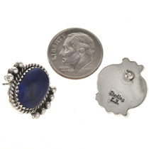 Navajo Lapis Silver Earrings 28838