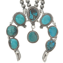 Genuine Bisbee Turquoise Squash Blossom Necklace Over 200 Carats!