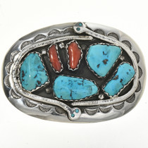 Old Pawn Zuni Turquoise Coral Belt Buckle 29119