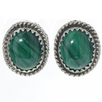 Malachite Silver Stud Earrings 28440
