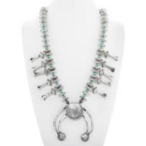 Navajo Silver Coin Squash Blossom Necklace 24847