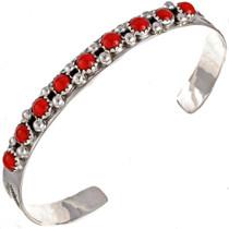 Navajo Coral Hammered Silver Bracelet 21522