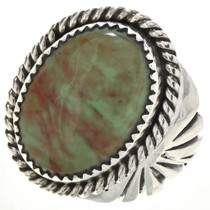 Green Alunite Silver Native American Ring 29101