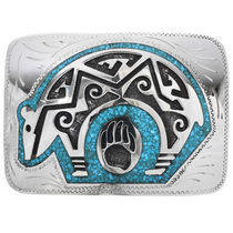 Overlaid Turquoise Bear Belt Buckle 32664