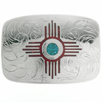 Inlaid Coral Turquoise Zia Belt Buckle 24076