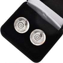 Hammered Silver Native American Cuff Links 20878