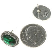 Green Shell Native American Earrings 28444